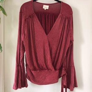 Deletta rust brushed silk surplice boho blouse